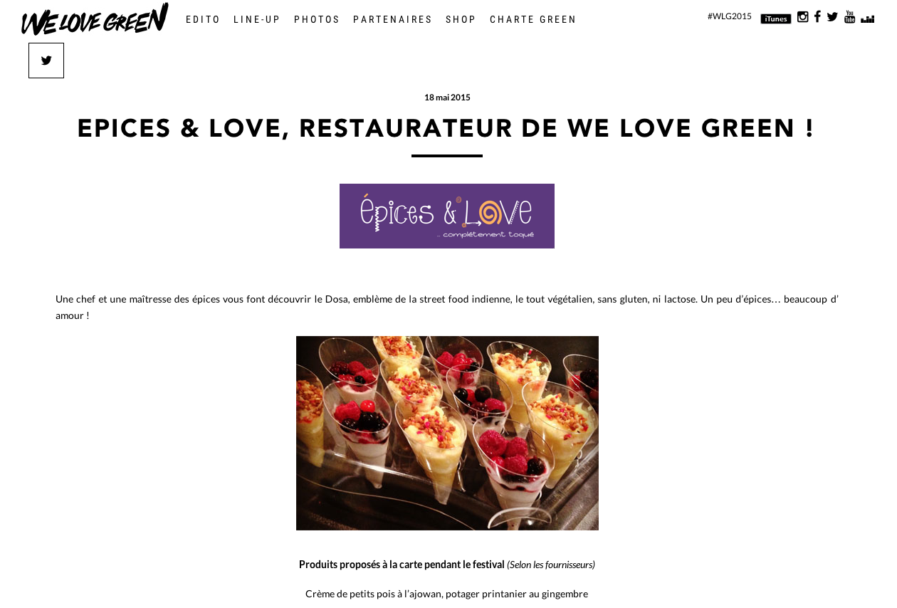 Epices&Love au festival We Love Green à Paris en mai 2015